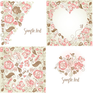 Set Of Folk Floral Backgrounds