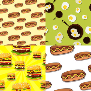 Set Of Food Seamless Pattern. Vector