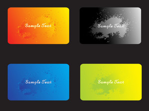 Set Of Four Business Cards With Grunge