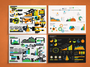 Set of four business infographic template with colorful elements for print
