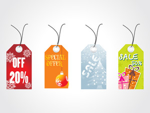 Set Of Four Christmas Sale Tag