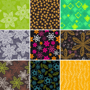 Set Of Four Colorful Floral Patterns.copy Square To The Side And You'll Get Seamlessly Tiling Pattern Which Gives The Resulting Image Ability To Be Repeated Or Tiled Without Visible Seams.