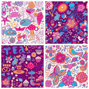 Set Of Four Colorful Floral Vector Pattern.copy Each Square To The Side