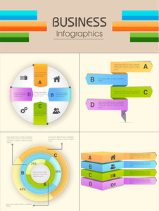 Set of four colorful Infographic elements for business reports and data presentation.