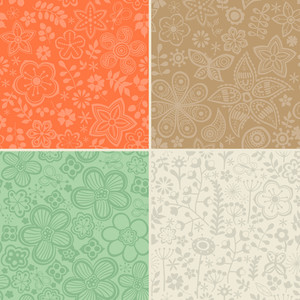 Set Of Four Floral Patterns (seamlessly Tiling). Seamless Pattern Can Be Used For Wallpaper