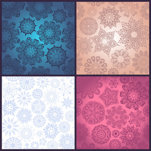 Set Of Four Ornated Floral Seamless Texture