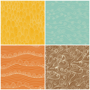 Set Of Four Seamless Abstract Hand-drawn Pattern