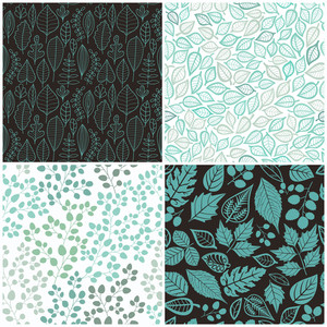 Set Of Four Seamless Pattern With Leaf. Abstract Leaf Texture