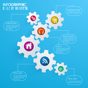 Set of gear shaped infographic elements with web icons on sky blue background for business or corporate sector.