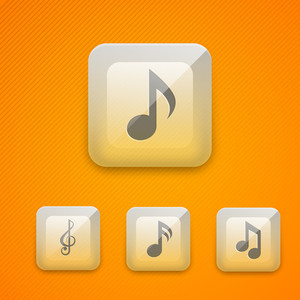 Set Of Glossy Music Web 20 Icons Or Buttons On Yellow Background