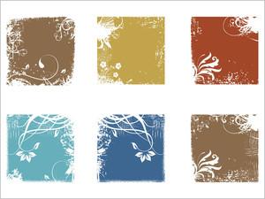 Set Of Grungy Floral Frame
