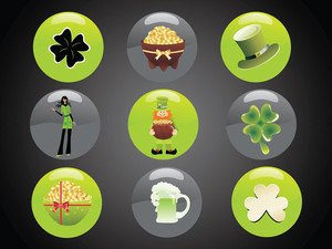 Set Of Illustration Vector Elemants Buttons 17 March