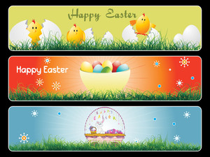 Set Of Landscape Easter Banner