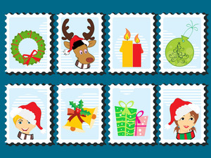 Set Of Merry Xmas Stamp