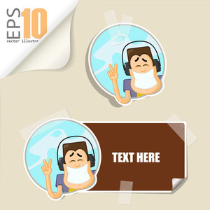 Set Of Message Card With Cartoon Boy Character And Paper Boy Character Fixed With Sticky Tape. Vector Illustration.
