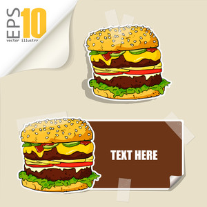 Set Of Message Card With Cartoon Burger And Paper Burger Fixed With Sticky Tape. Vector Illustration.