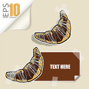 Set Of Message Card With Cartoon Croissant And Paper Croissant Fixed With Sticky Tape. Vector Illustration.