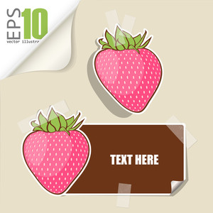 Set Of Message Card With Cartoon Strawberrie And Paper Strawberrie Fixed With Sticky Tape. Vector Illustration.