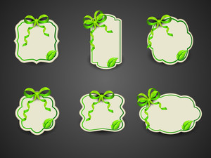 Set Of Nature Frames With Green Ribbon On Grey Background