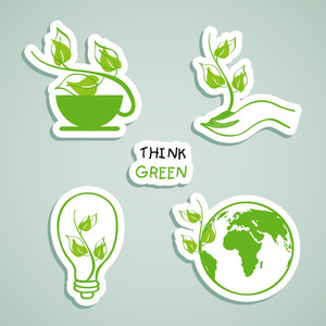 Set Of Nature Icons With Text Think Green