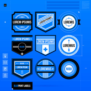 Set Of Nine Labels And Badges In Blueprint Style. Eps10