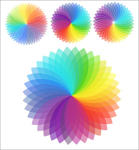 Set Of Rainbow Flowers