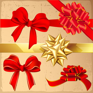 Set Of Red And Gold Vintage Gift Bows With Ribbons. Vector.