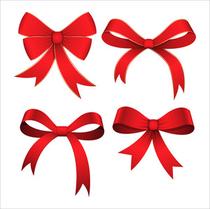 Set Of Red Ribbon Bows