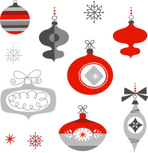 Set Of Retro Christmas Ornaments