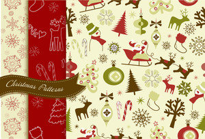Set Of Retro Christmas Patterns