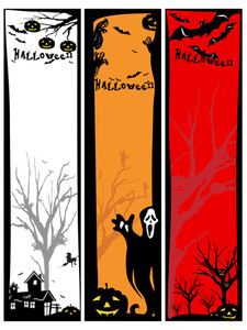 Set Of Scary Halloween Banner