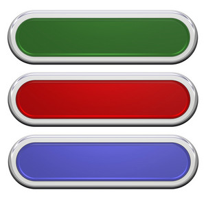 Set Of Shiny, Rectangle Buttons Isolated On White.