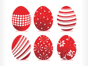 Set Of Six Artistic Pattern Red Easter Egg