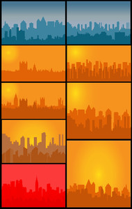 Set Of Skylines Background
