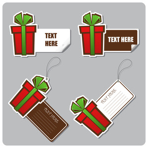 Set Of Tags And Stickers With Gift-box. Vector Illustration.