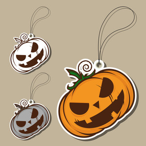 Set Of Tags With Cartoon Halloween Pumpkin. Vector.
