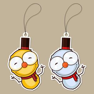 Set Of Tags With Cartoon Snowman. Vector Illustration.