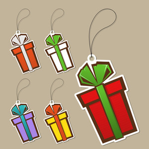 Set Of Tags With Gift-box. Vector Illustration.