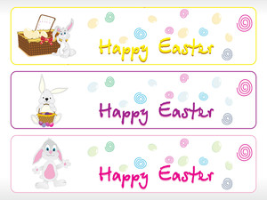 Set Of Three Happy Easter Banner