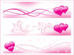 Set Of Three Pink Romantic Banner