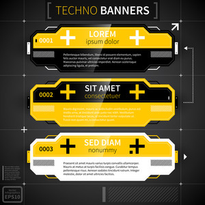 Set Of Three Techno Banners.