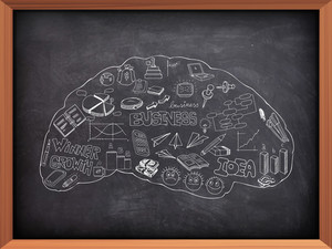 Set of various business infographic elements in shape of brain created by white chalk on blackboard background.