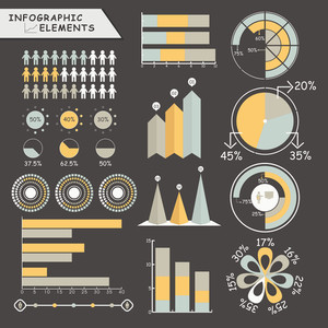 Set of various business infographic elements including statistical graphs