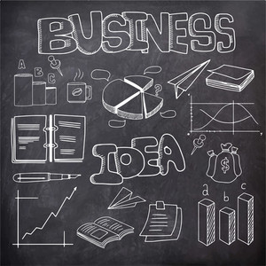 Set of various business infographic elements on chalkboard background.
