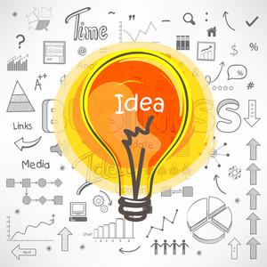 Set of various Business Infographic elements with colorful bulb for Idea concept.