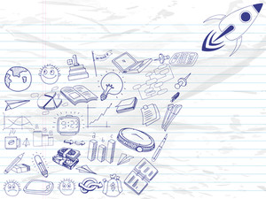 Set of various business infographic elements with rocket for start up a new business on notebook paper background.