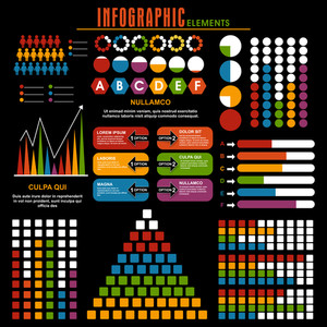 Set of various colorful infographic elements on black background for business or corporate sector.