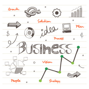Set of various infographic elements on notebook paper background for business or corporate sector.
