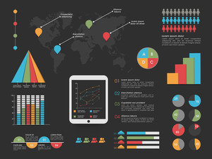Set of various statistical infographic elements for business reports presentation.