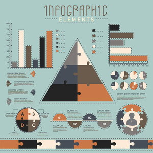 Set of various statistical infographic elements for your professional reports and data presentation.